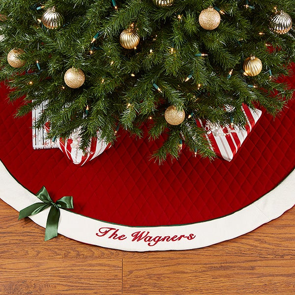 Red Personalized Quilted Tree Skirt - Winter Classic - 16349