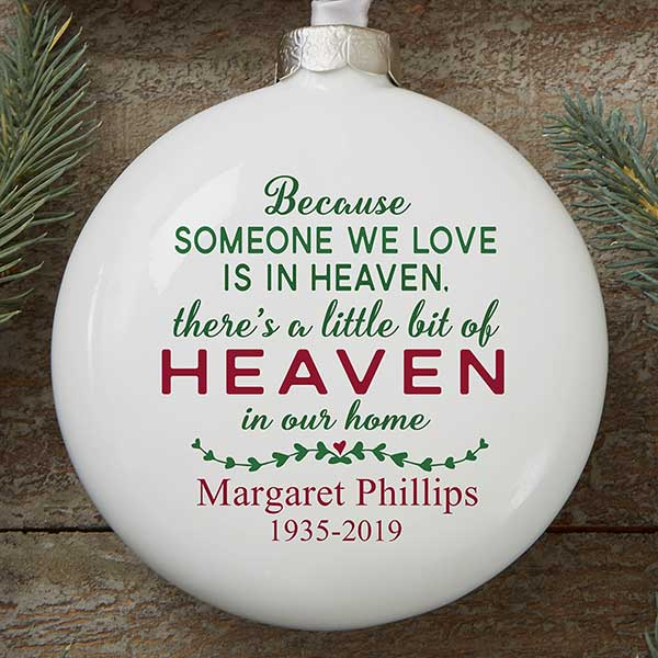 Christmas In Heaven Ornament.Heaven In Our Home Personalized Deluxe Memorial Ornament