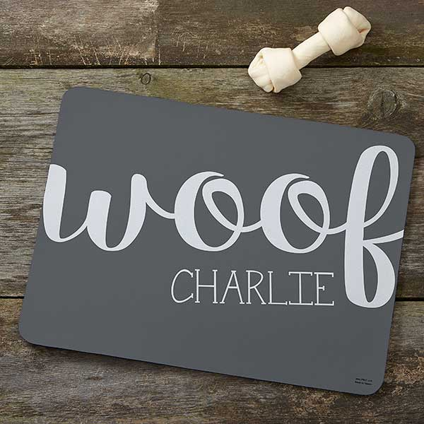 Personalized Pet Food Mat Woof Meow