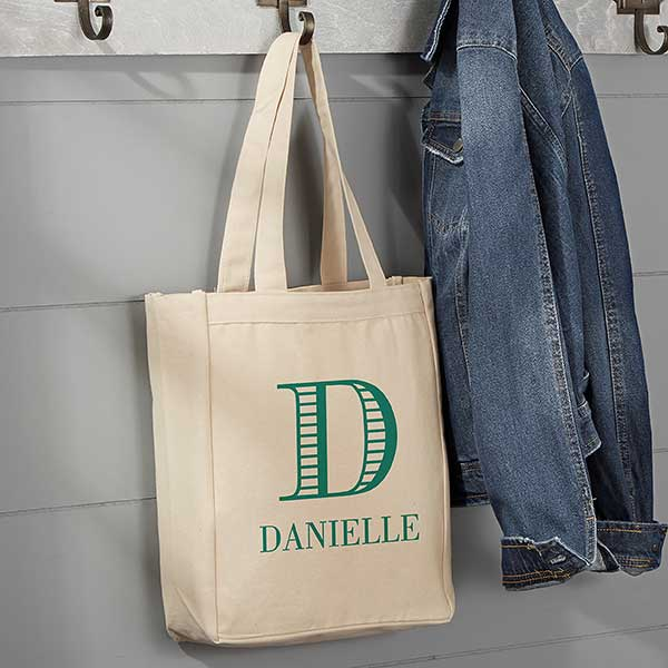 Striped Monogram Personalized Small Canvas Tote Bag
