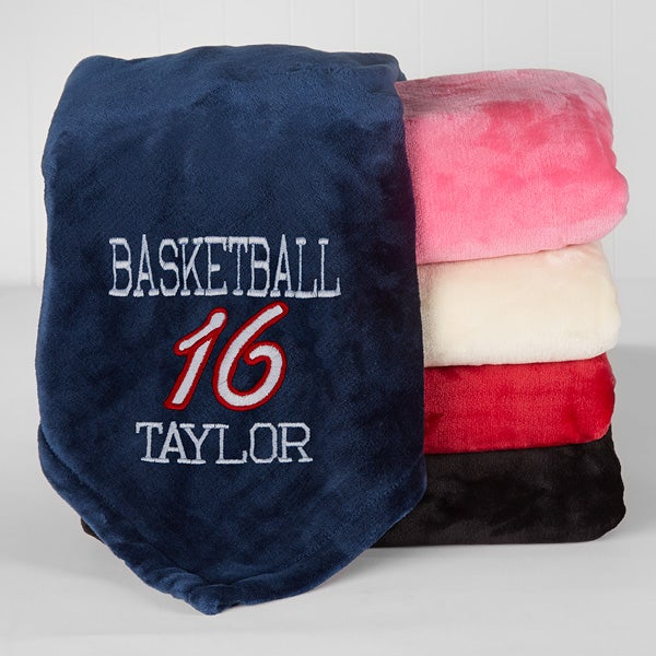 Personalized Sports Fleece Blanket - Team Name & Number - 16455
