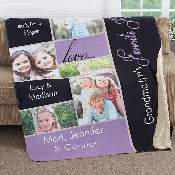 Personalized Baby Photo Sherpa Blanket - My Favorite Faces - 16468
