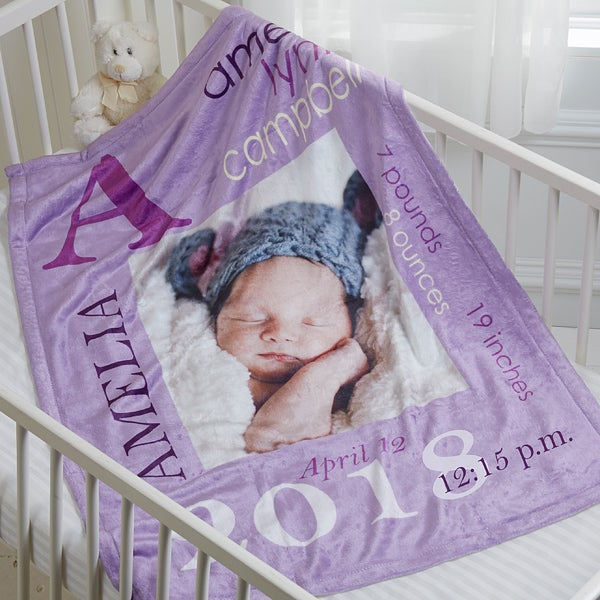 Personalized Baby Girl Photo Personalized Fleece Blanket ...