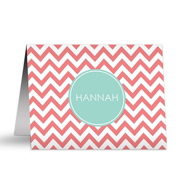 Personalized Girls Note Cards - Preppy Chic - 16501