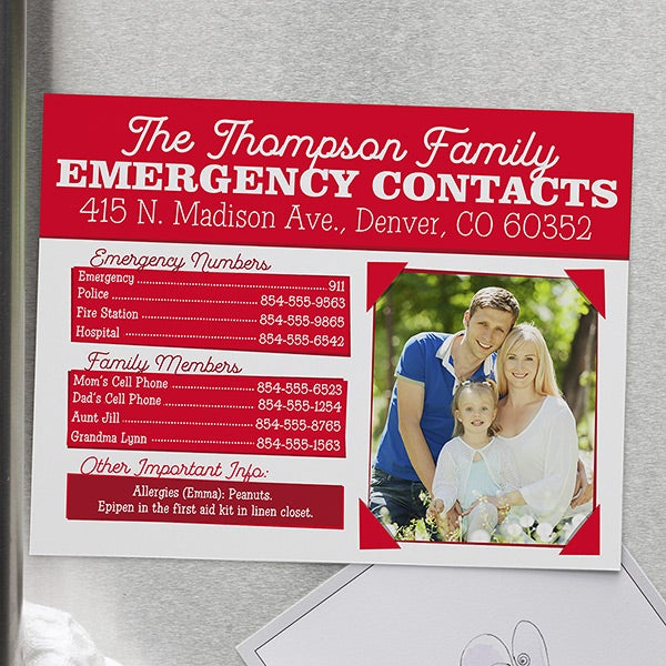 Personalized Emergency Contact Magnet - 16509