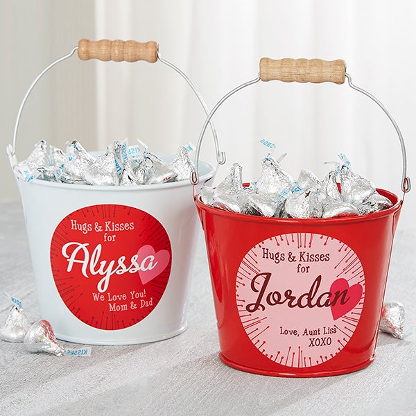 Personalized Mini Candy Bucket - Hugs & Kisses