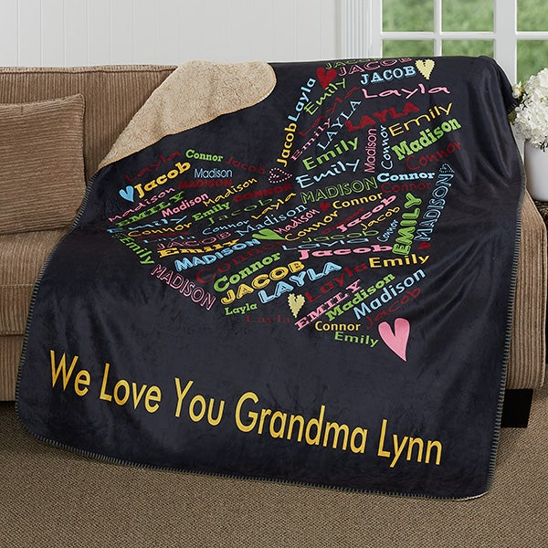 Personalized Premium Sherpa Blanket - Her Heart Of Love - 16524