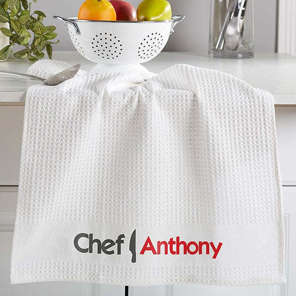Personalized White Kitchen Towel Set - The Chef - 16531