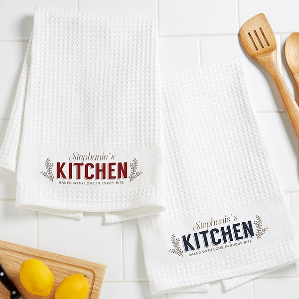 Her Kitchen Personalized Kitchen Towel Set - White Waffle Weave - 16533