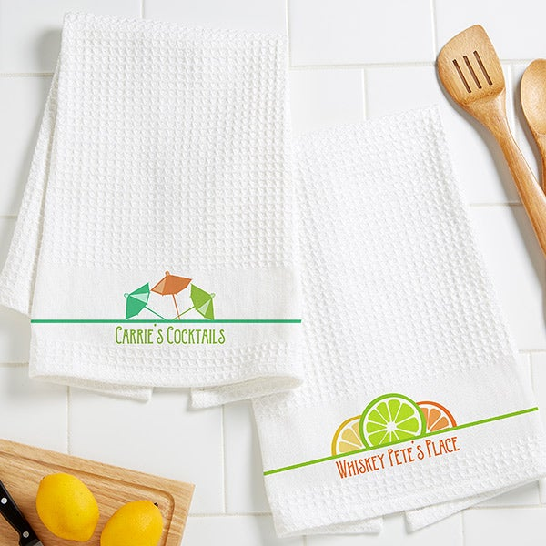 You Name It! Personalized Waffle Weave Bar Towels - Set of 2 - 16535