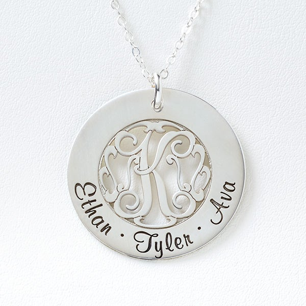 Personalized Family Monogram Necklace - Initial Monogram - 16540D