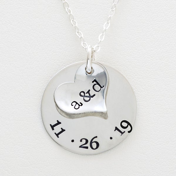 Personalized Heart Initials Necklace - Special Couple - 16541D