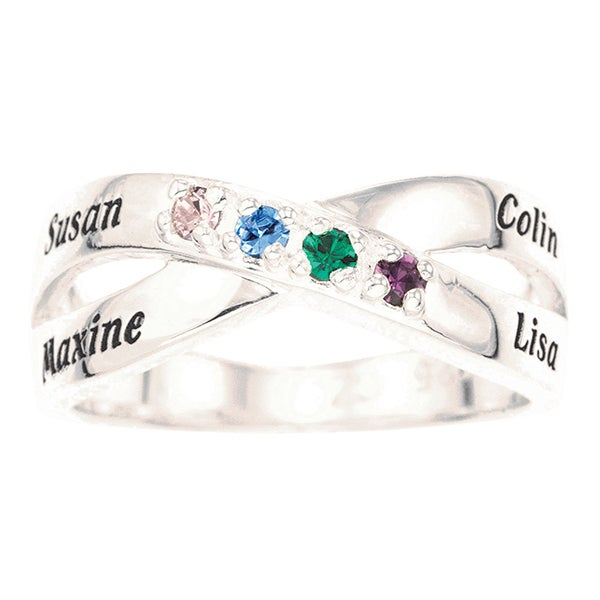 Personalized Sterling Silver Birthstone Ring - Family Birthstones - 16550D