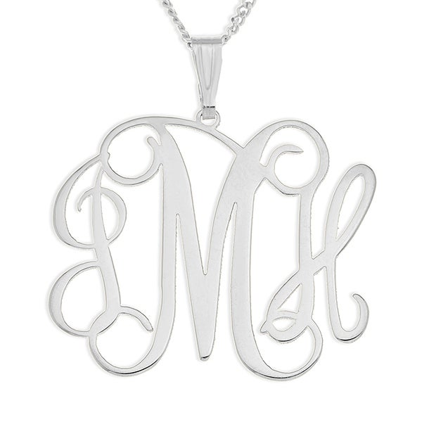 Personalized Sterling Silver Necklace - Three Initial Monogram - 16556D