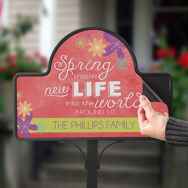 Personalized Seasonal Yard Stakes - Spring Flowers - 16567