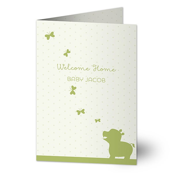 Personalized Baby Greeting Card - Baby Zoo Animal - 16571