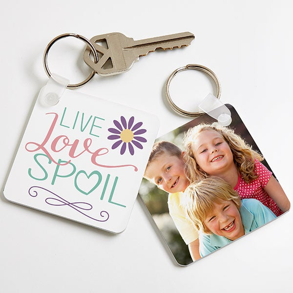 Personalized Grandparents Photo Keychain - Live, Love, Spoil - 16585