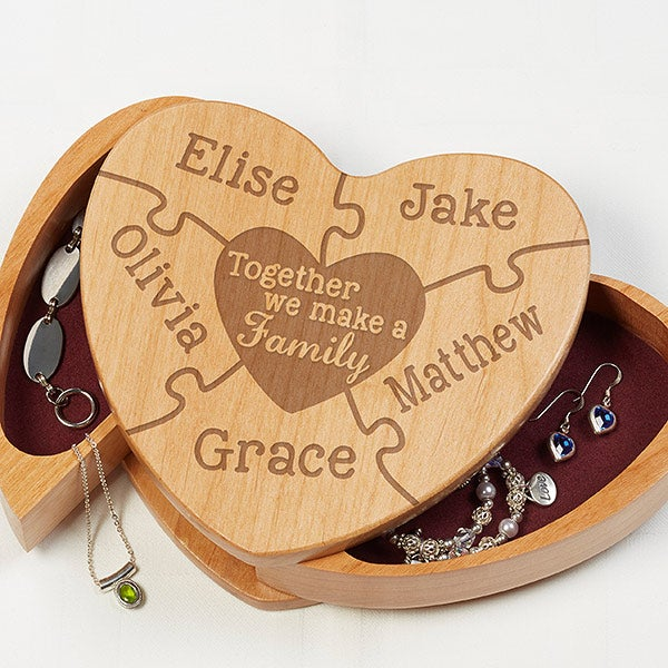 Personalized Wood Heart Jewelry Box - We Make A Family - 16587