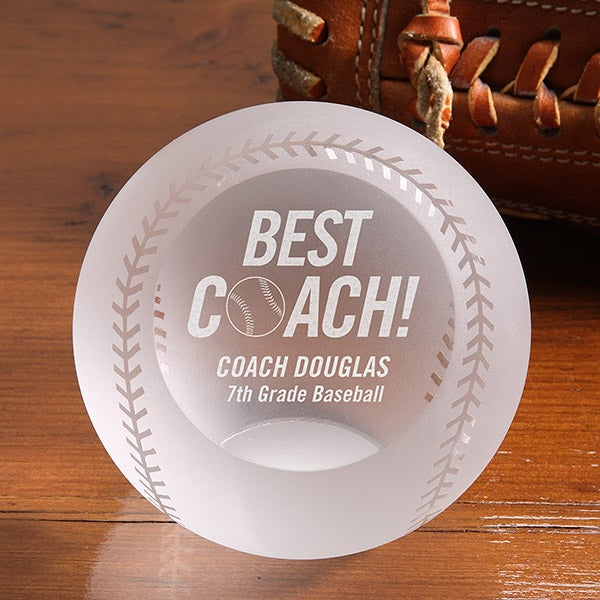 Personalized Best Baseball Coach Award - Crystal Baseball - 16595