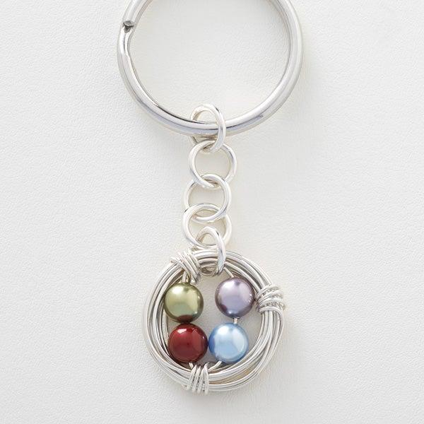 Personalized Birthstone Keychain - Birds Nest - 16649D