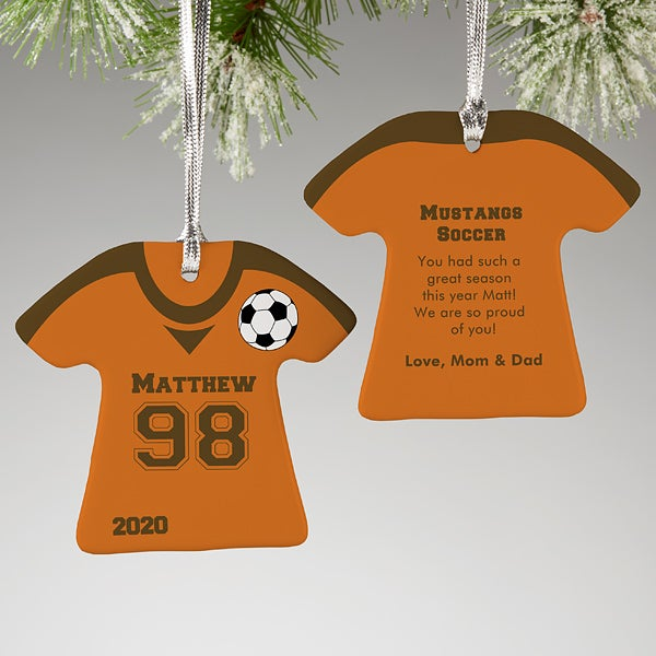 2020  Sports Jerseys Christmas Ornaments Soccer Jersey Personalized Sports Christmas Ornaments   2 Sided