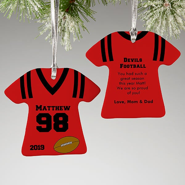 buy online 5cad0 9a579 Football Jersey Personalized Sports Christmas Ornaments - 2-Sided