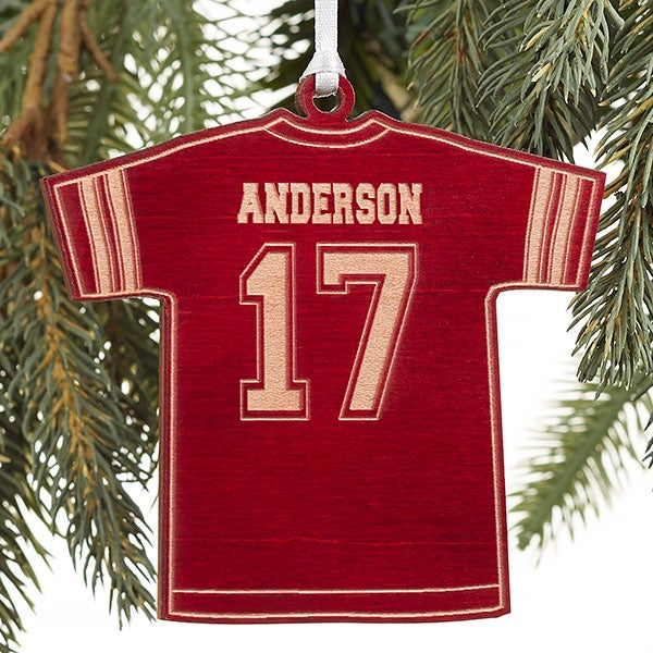 check out 85ce9 b5b6d Football Jersey Personalized Red Wood Ornament