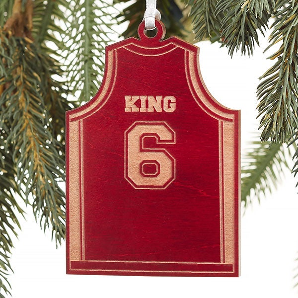 Basketball Jersey Personalized Red Wood Ornament