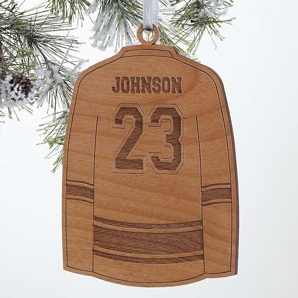 Personalized Sports Christmas Ornaments - Hockey Jersey - Wood - 16664