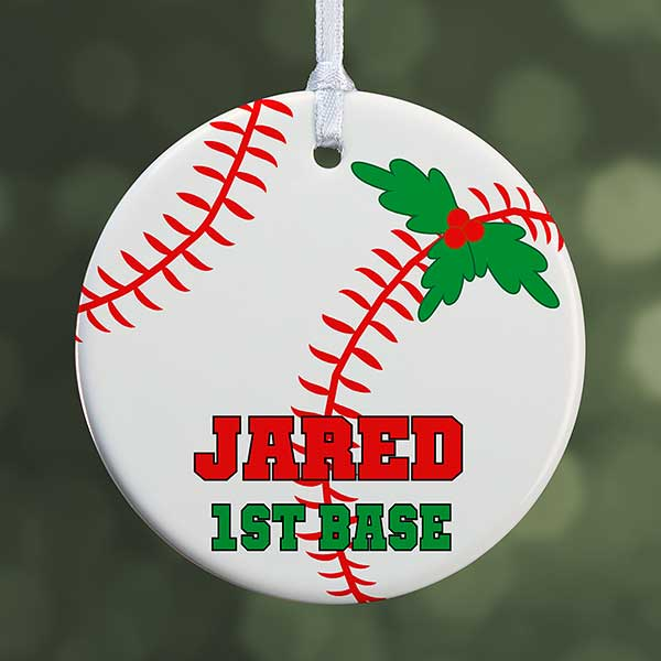 Personalized Baseball Christmas Ornament One Sided