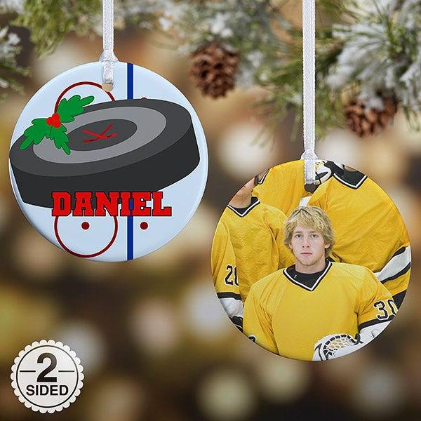 Personalized Photo Christmas Ornament - Hockey - Christmas