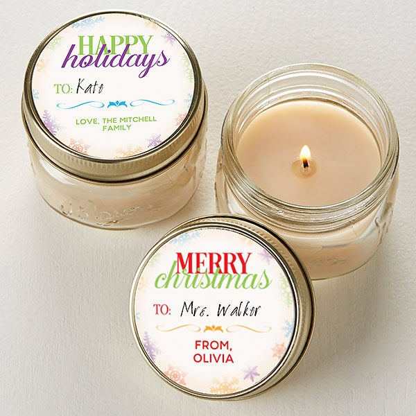 Personalized Christmas Candle Favors - Holiday Wishes Mini Mason Jars - 16686
