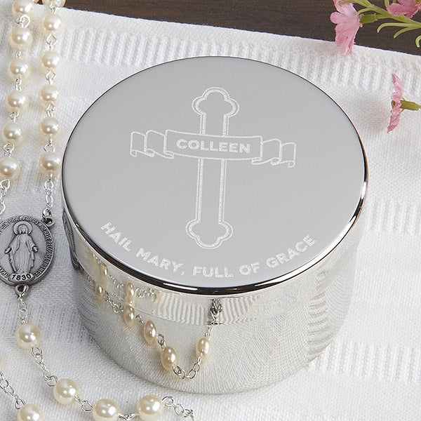 Personalized Religious Rosary Keepsake Box - Full Of Grace - 16696