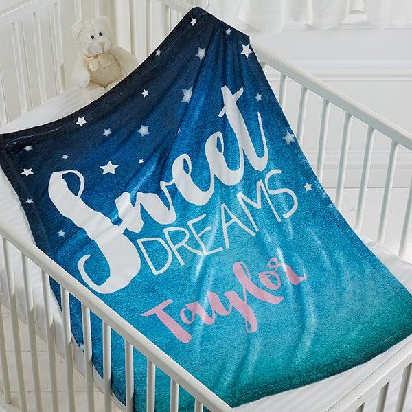 Personalized Baby Fleece Blanket - Sweet Dreams - 16702