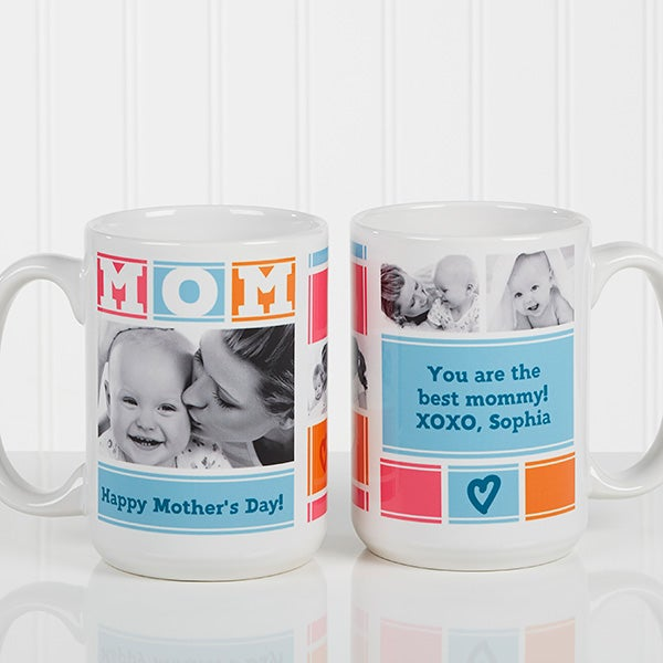 Personalized Photo Coffee Mug - MOM Photo Collage - 16708