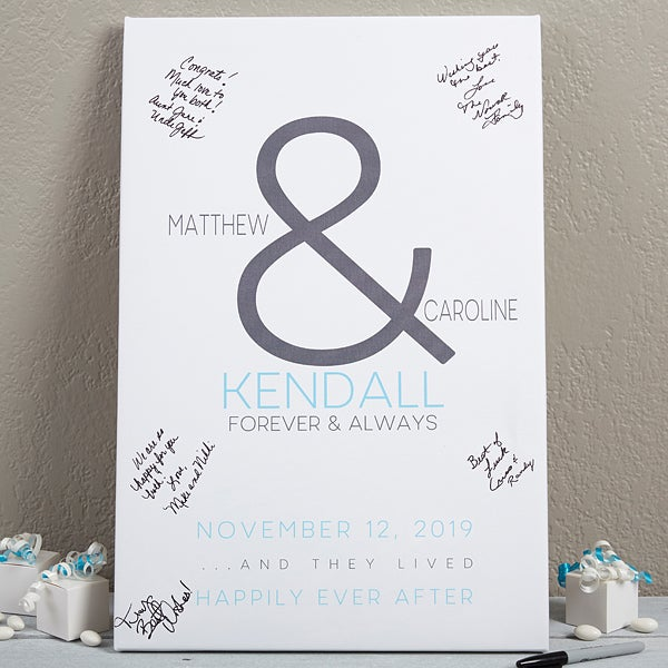 Personalized Wedding Guest Book.Custom Wedding Guest Book Canvas 12x18