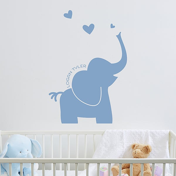 Personalized Baby Vinyl Wall Art - Baby Zoo Animals - 16734