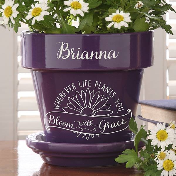 Personalized Flower Pot - Inspiration To Grow - 16739