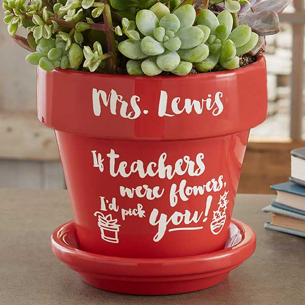 Personalization Mall & Personalized Teacher Gift Flower Pot - Red