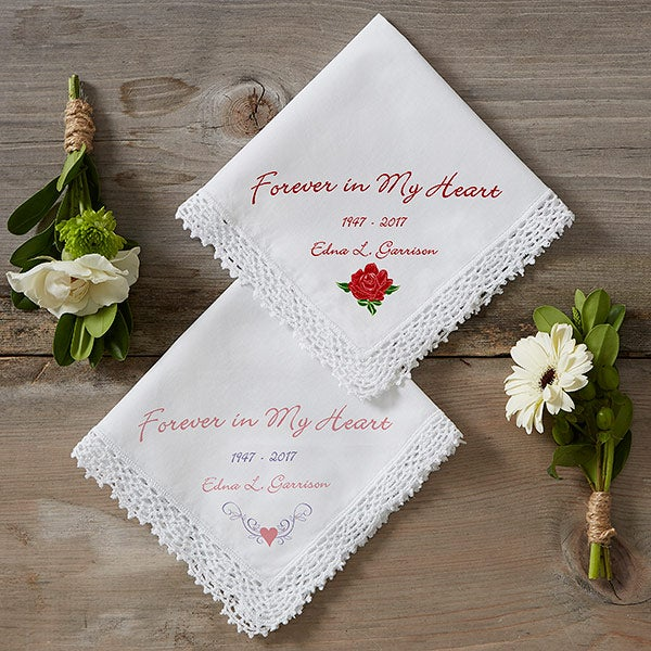 Personalized Memorial Linen Handkerchief - Forever In My Heart - 1678