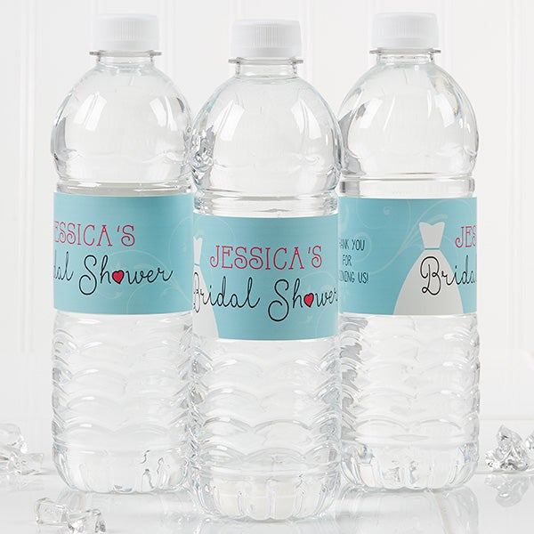 personalized bridal shower water bottle labels the dress 16825
