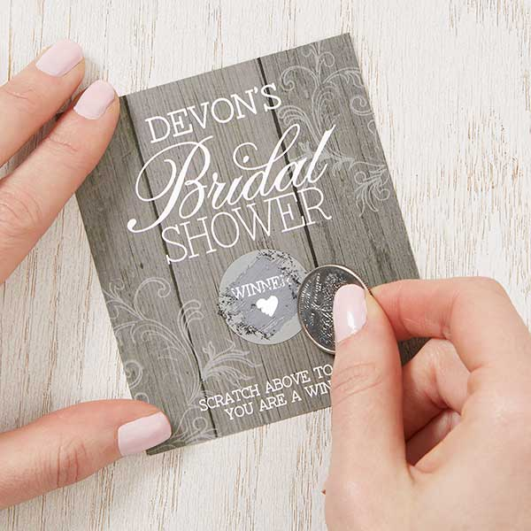 personalized bridal shower scratch off game rustic 16843