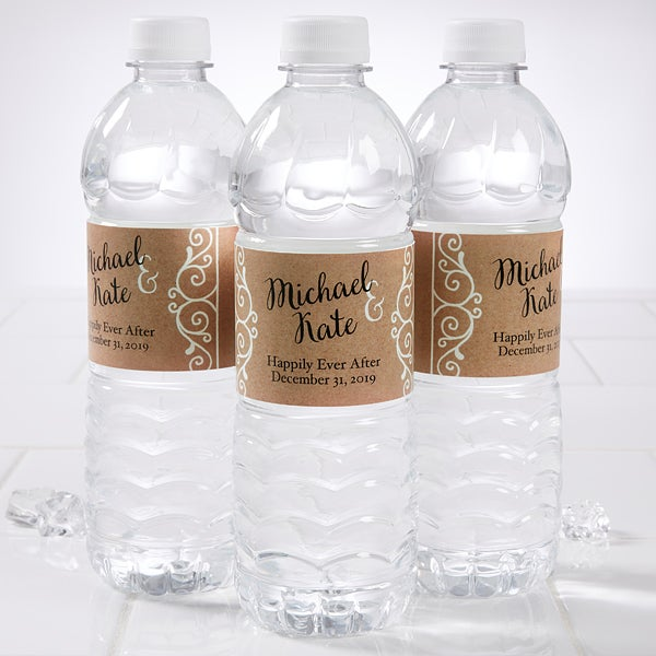 Wedding Water Bottle Labels.Rustic Chic Wedding Personalized Water Bottle Labels
