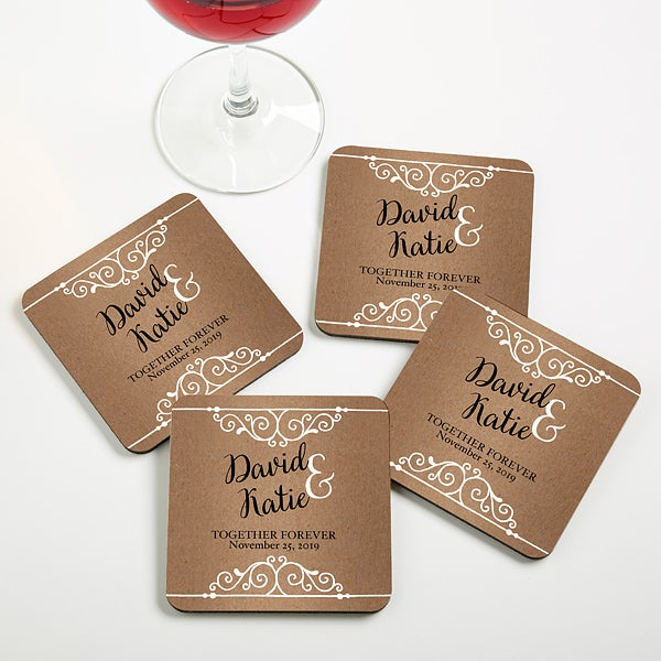 Personalized Wedding Coaster Favors - Rustic Chic Wedding - 16846