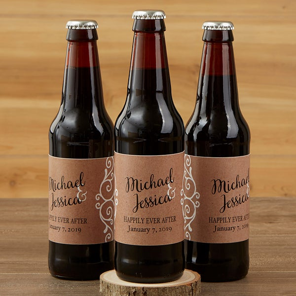 Personalized Beer Bottle Labels Carrier Rustic Chic Wedding 16849