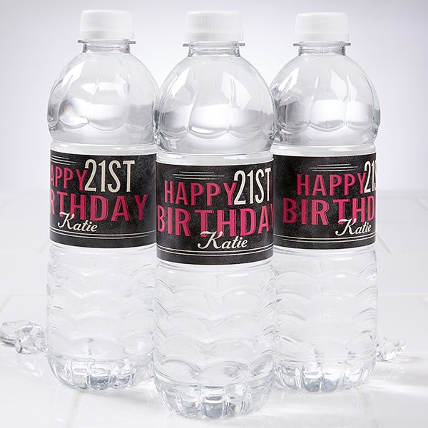 Personalized Birthday Party Water Bottle Labels Vintage