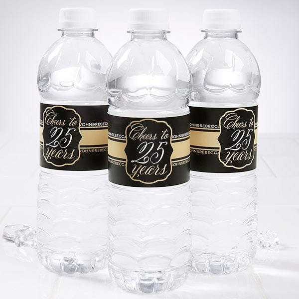 Personalized Water Bottle Labels - Wedding Anniversary - 16900