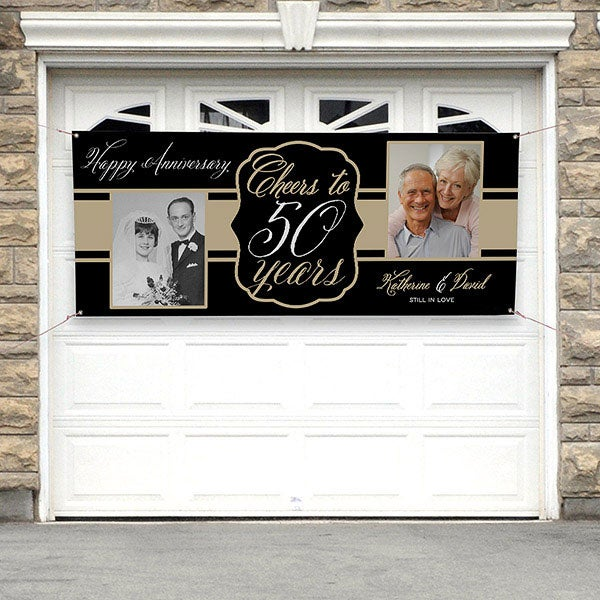 Personalized Anniversary Party Photo Banner - Cheers To Then & Now - 16902