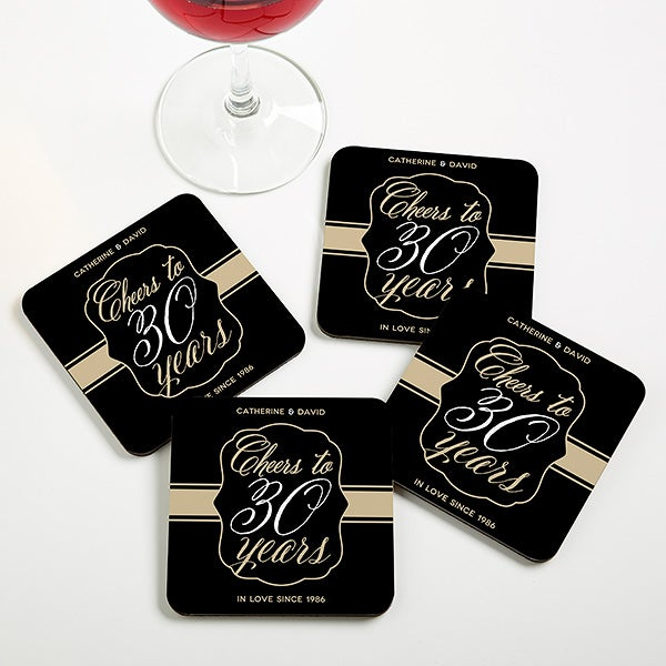 Personalized Anniversary Coaster Favors - Cheers To Then & Now - 16905