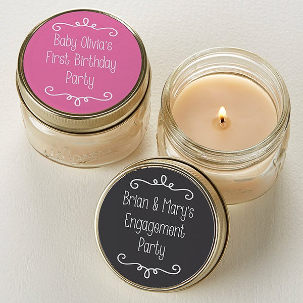 Personalized Mason Jar Candle Favors - Write Your Own - 16910